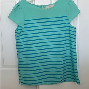 Green blue striped blouse with cap sleeves